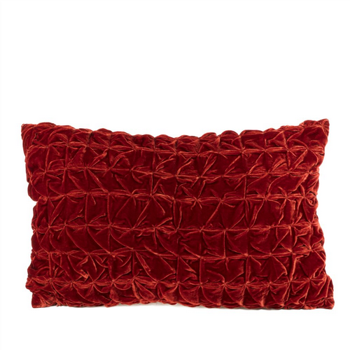 Ruched Velvet Cushion - Burnt Orange